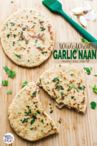 Easy recipe to make garlic naan bread at home. And these soft, pillowy and healthy Indian flatbreads are better than store bought. | #watchwhatueat #wholewheat #naan #Indian #healthyrecipe