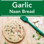 Homemade garlic naan bread for guilty free eating. Made with whole wheat flour and no butter at all.