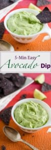 Delicious, creamy and easy avocado dip that only take 5 mins. to prepare. Give a tasty twist to any chips or appetizer dish with this avocado dip.