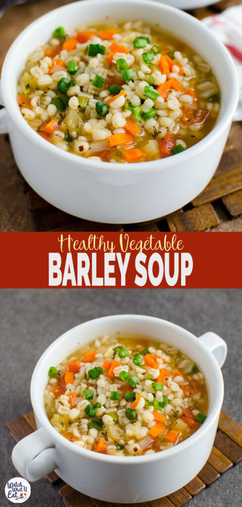 Homemade Healthy Vegetable Barley Soup - A perfect easy vegetarian recipe to keep you warm during cold winter days. Ready to enjoy in about 30 mins. | #watchwhatueat #barley #soup #vegan #vegetarian