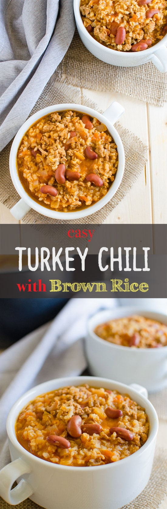 This easy turkey chili with brown rice is simple to prepare, healthy and a one pot meal. It is prepared using all healthy ingredients. Full of all traditional flavors.