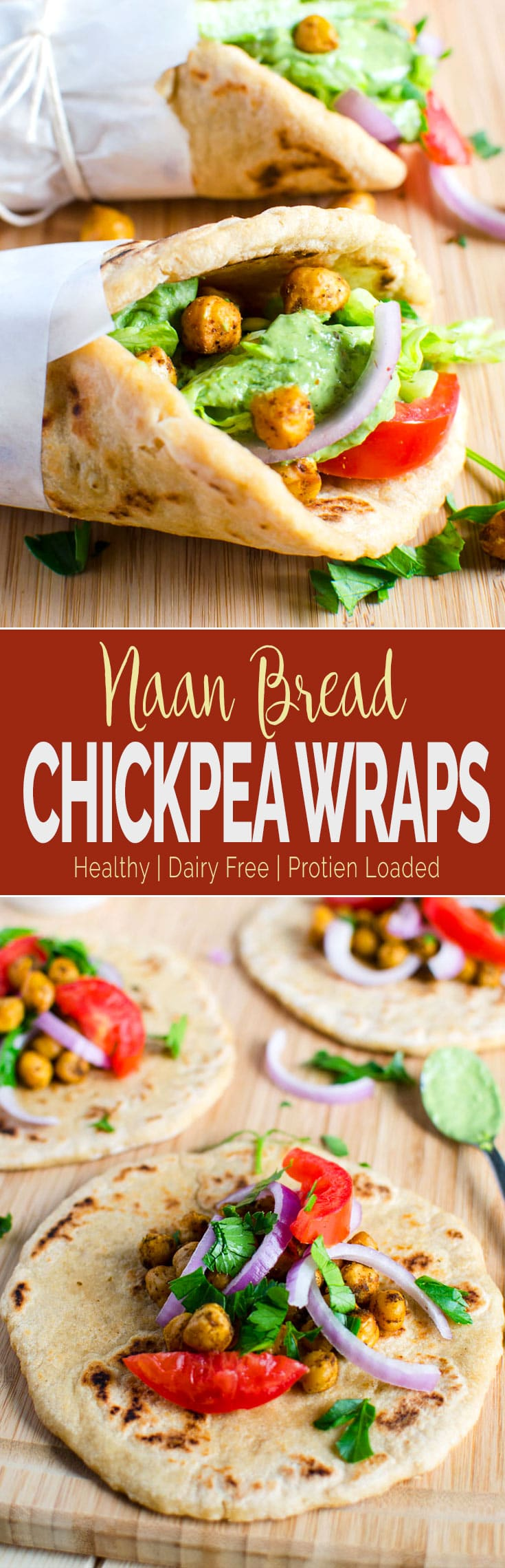 Naan bread vegan wraps filled with toasted chickpeas. This wrap is healthy and filling. No naans... then replace with pita or soft tacos. #naanbread #wraps #healthyrecipes