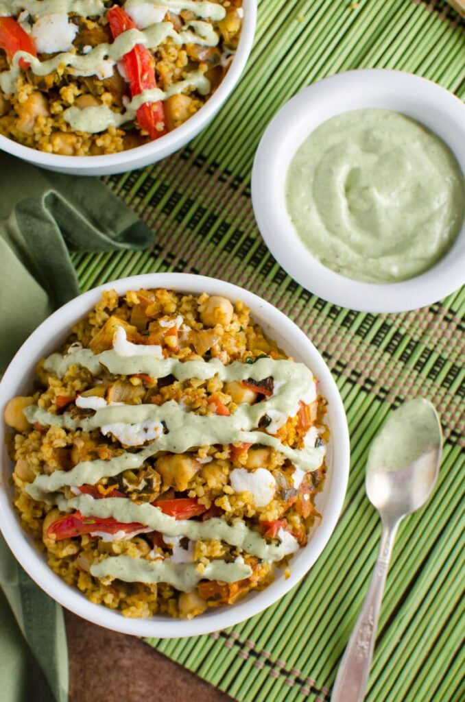 One pot bulgur wheat recipe that contains healthy proteins from chickpeas and gets ready in 30 min.