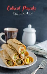 Healthy oatmeal pancakes stuffed with eggs, fresh veggies and some cheese too. Ideal for sugar free morning breakfasts.