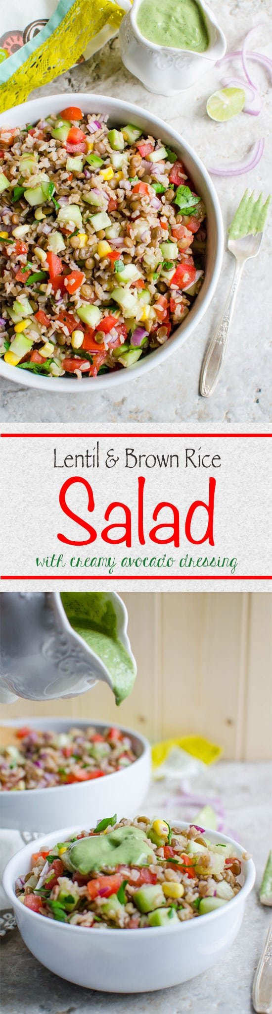 This healthy brown rice salad is really filling that will help you stay full for longer. You won't feel brown rice is boring any more.