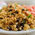 One pot Mexican brown rice, a healthy and filling option for any weeknight dinners.