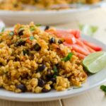 This Mexican brown rice can also be paired with fresh guacamole and some cheese and can be served as a side dish or as a main dish