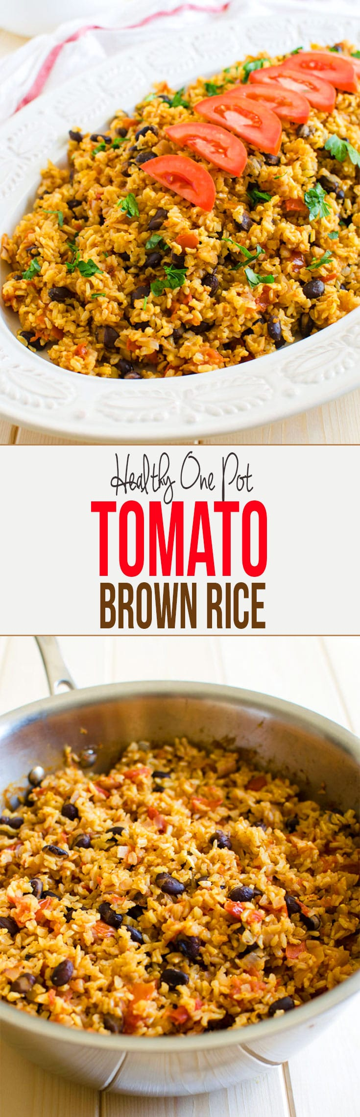 This one pot Mexican brown rice with tomatoes is a great option for any weeknight meals. It is really filling and tastes so fresh.