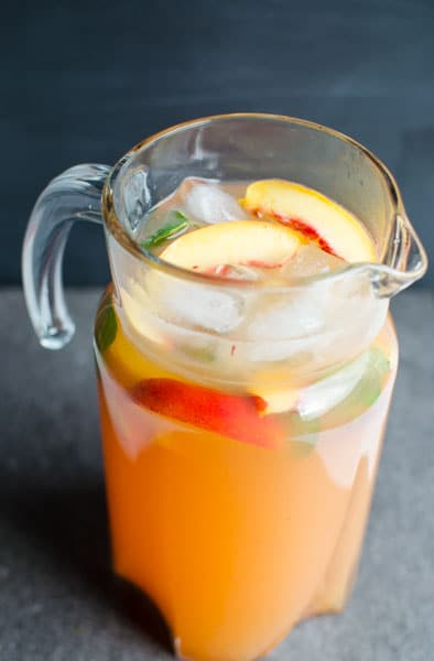 Enjoy homemade lemonade with this peach lemonade recipe.