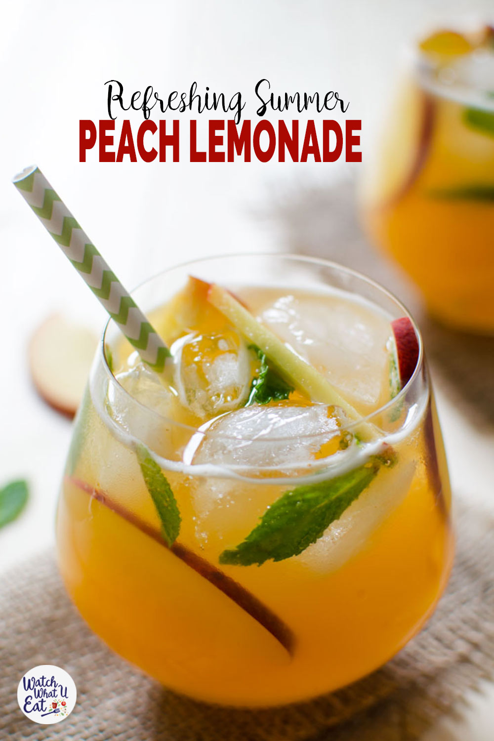 Try this refreshing easy peach lemonade recipe to enjoy utilize fresh peaches of the season. Healthy naturally sweetened & non-alcoholic summer drink. | #watchwhatueat #lemonade #peaches #nonalcoholic #healthydrink