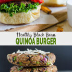 Make these quick and easy healthy black bean quinoa burger for filling, satisfying lunch or dinner. No cheese, no butter yet super delicious, these burgers will be hit in your family. | #watchwhatueat #blackbeanburger #quinoaburger #healthyburger #veggieburger
