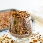 This chocolate covered homemade granola is prepared using rolled oats, nuts, seeds, and of course chocolate etc. It is almost like a mixture of trail mix + rolled oats.