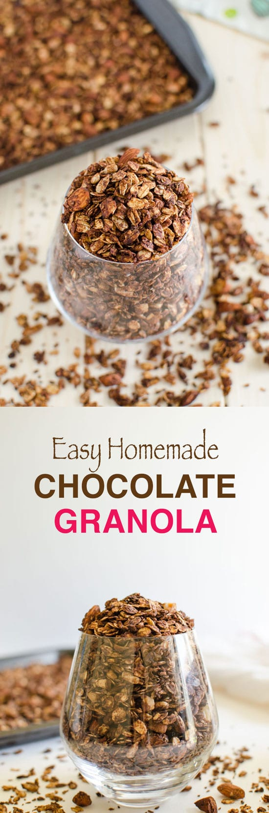 This easy homemade granola is prepared using rolled oats, nuts, seeds, and of course chocolate etc. It is almost like a mixture of trail mix + rolled oats.
