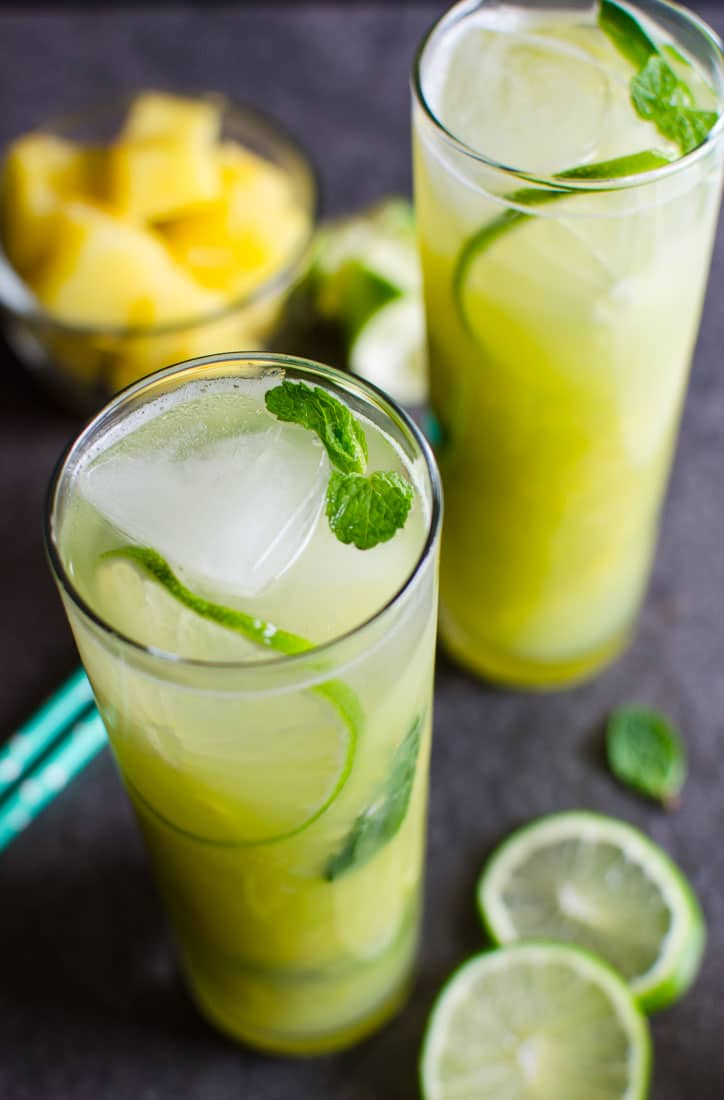 Cool, refreshing skinny pineapple mojito that is naturally sweetened and healthy. Non-alcoholic and loaded with flavors from fresh fruits.