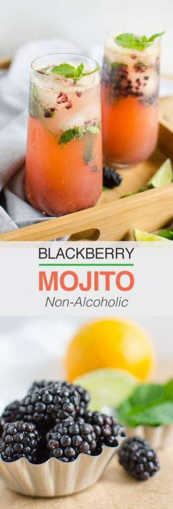 This naturally sweetened, non alcoholic, low calorie refreshing blackberry mojito is perfect to enjoy summer