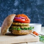 Healthy zucchini salmon burger