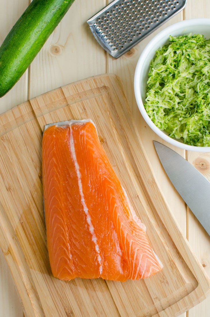 Healthy zucchini salmon burger