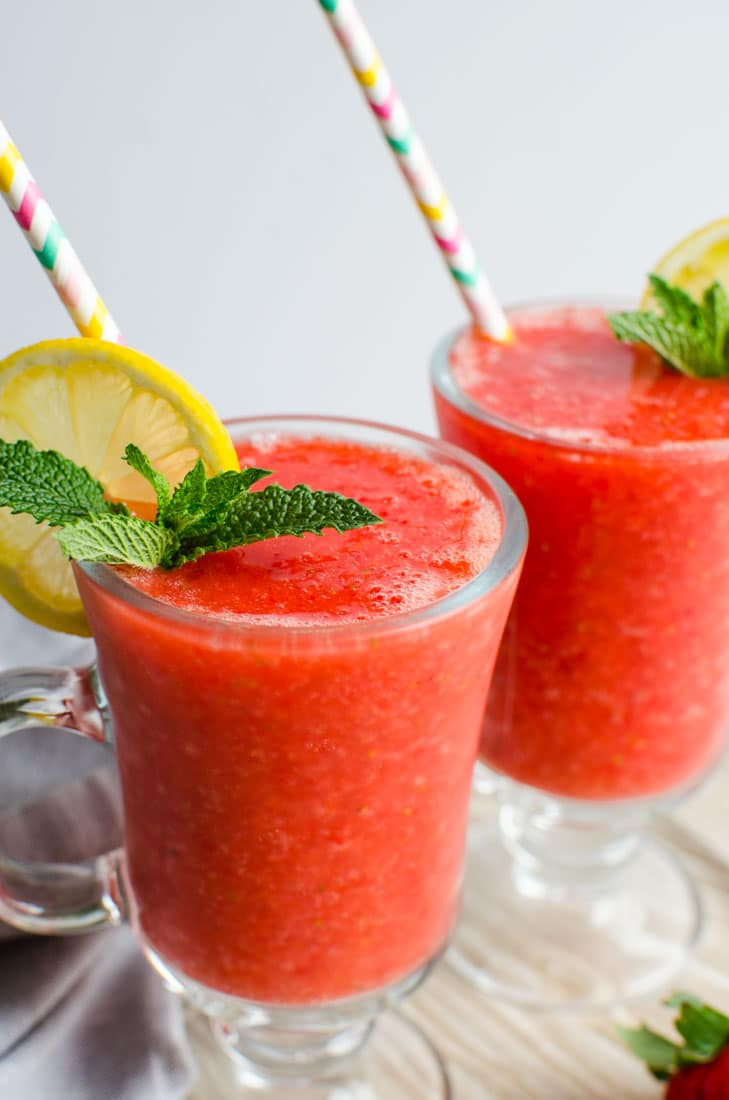 This strawberry slush is a perfect drink to enjoy warm days. It is prepared using fresh strawberries and thus loaded with micronutrients from it.