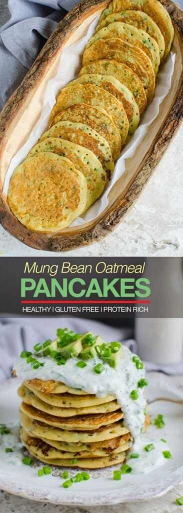 Mung bean oatmeal protein pancakes - loaded with healthy proteins, healthy grains and nutrients. Also gluten free and vegan | watchwhatueat.com