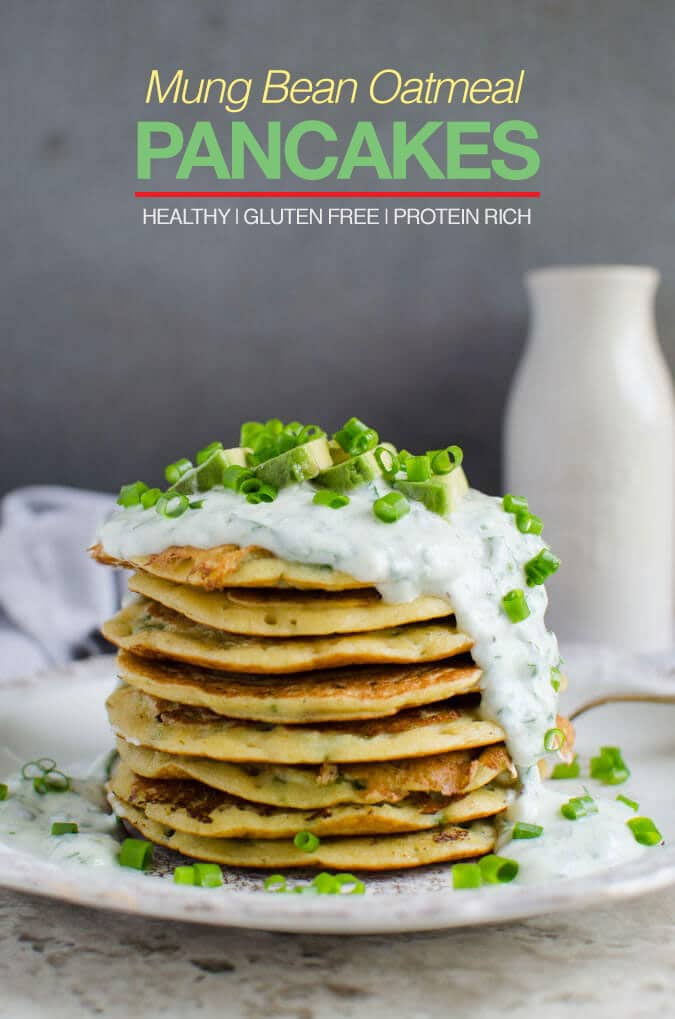 Mung bean oatmeal protein pancakes - packed with dietary fibers, healthy proteins and essential nutrients. Also gluten free and vegan | watchwhatueat.com