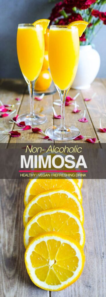 Best Mimosa Recipe - 2 ingredients, simplest, and quickest an amazing brunch drink. It is also healthy, non alcoholic & a naturally sweetened drink | watchwhatueat.com