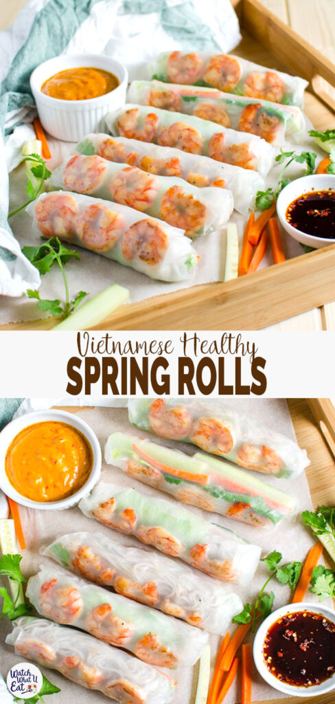 Vietnamese healthy spring rolls with creamy peanut butter sauce are a perfect treat to yourself at home. 30 min flavorful, healthy rolls for lunch or dinner.| #watchwhatueat #Vietnamese #springrolls #healthyrecipes