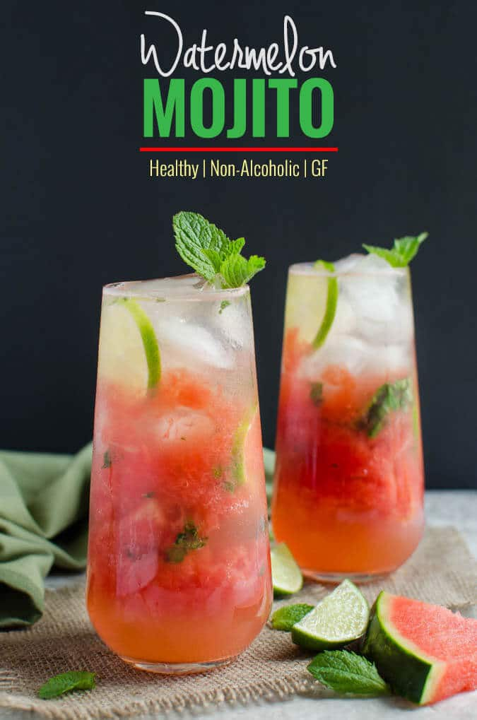 Watermelon Mint Mojito - Refreshing, healthy and non-alcoholic drink to enjoy hot days. Can easily turned into alcoholic drink if you want to | watchwhatueat.com