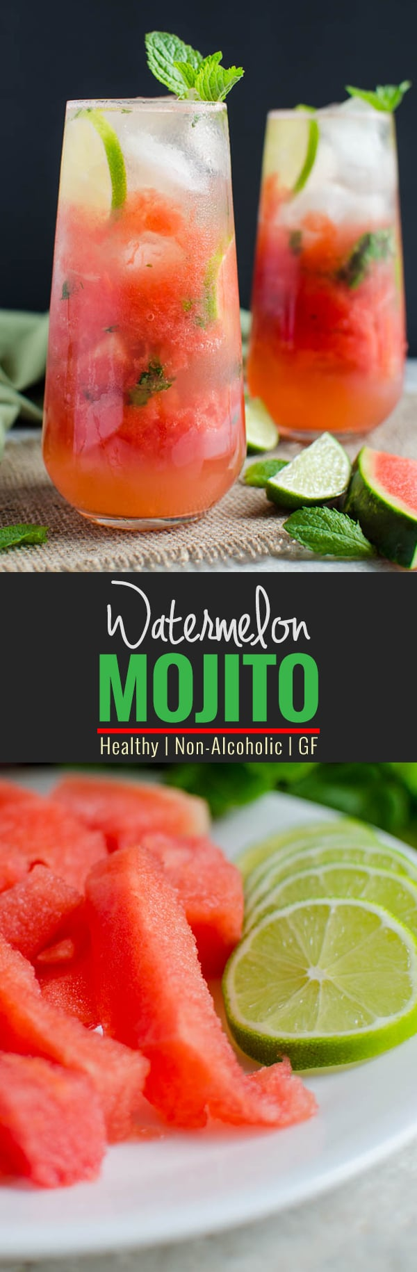 Watermelon Mojito Recipe- Give refreshing twist to fresh watermelons. It is healthy, naturally sweetened and non-alcoholic drink. Can easily turned into alcoholic drink if you want to | watchwhatueat.com