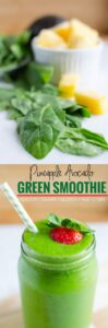 Spinach Avocado Green Smoothie: This nutritionally dense green smoothie is a perfect after-workout drink or to start your day. Healthy, under 300 calorie smoothie drink | watchwhatueat.com