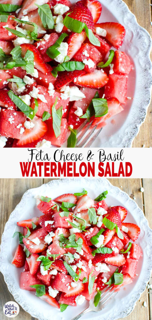 This Watermelon Feta Salad with basil is so refreshing and perfect to enjoy seasonal fruits. Super easy recipe to prepare and tons of flavors that you will want to make this summer salad again and again. #watchwhatueat #watermelonsalad #summersalad #watermelon