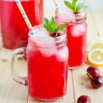 Healthy and Naturally Sweetened Cherry Lemonade