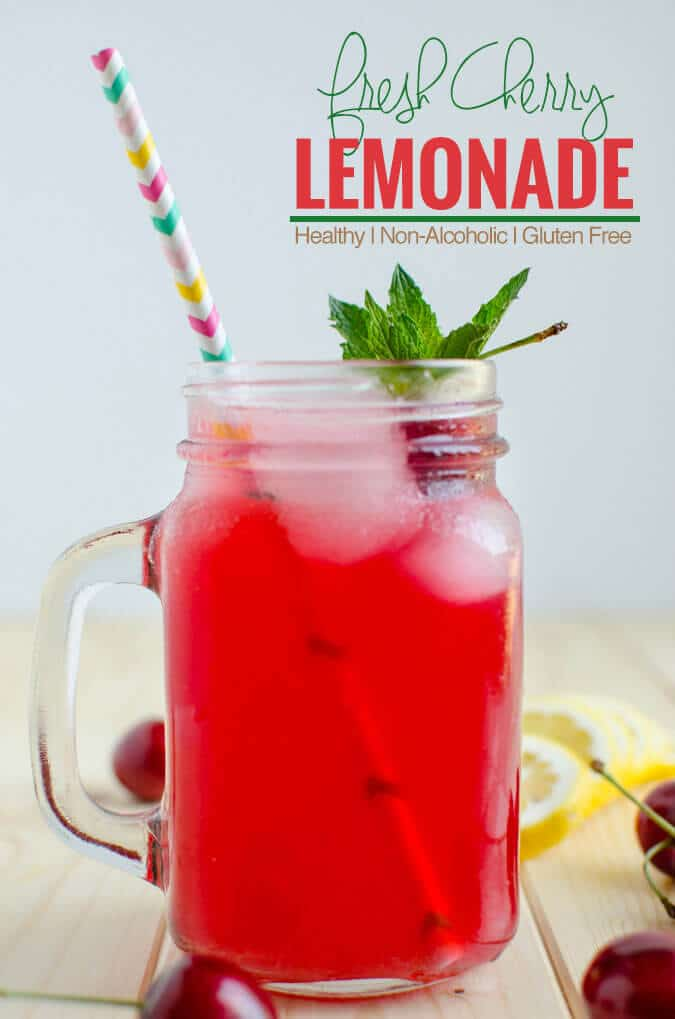Healthy, refreshing and naturally sweetened cherry lemonade for guilt free drinks | watchwhatueat.com
