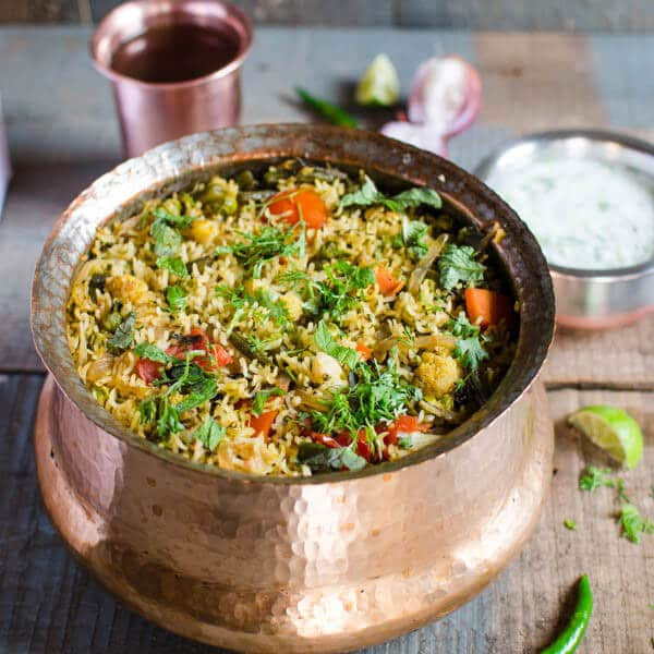 One pot easy veg biryani. Healthy and nutritious | watchwhatueat.com
