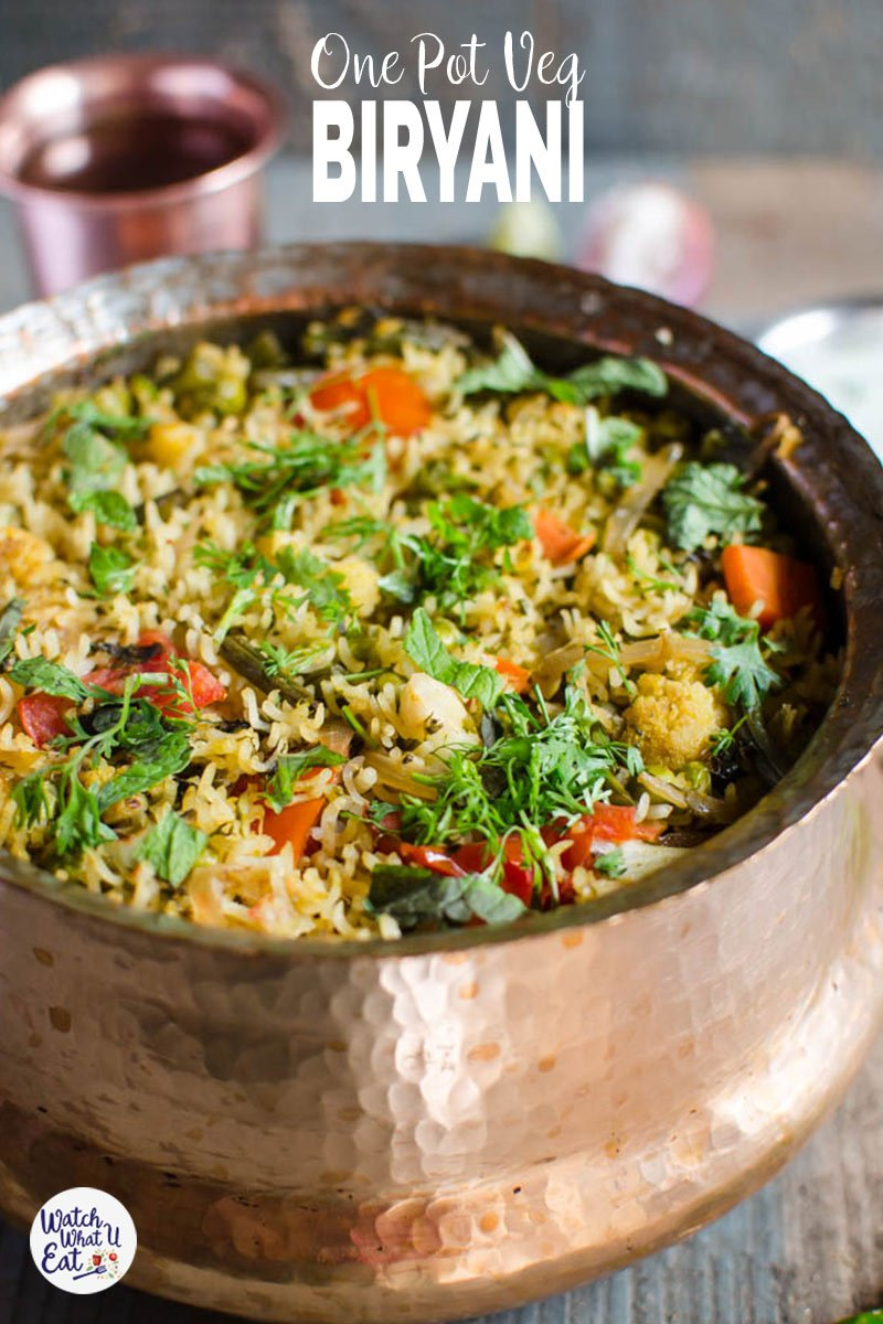 Prepare this one-pot delicious and easy vegetable biryani using a variety of fresh veggies. And this healthy and nutritious Indian veg biryani recipe is perfect for a vegetarian or meatless meal. | #watchwhatueat #biryani #vegbiryani #vegetarian #onepot #glutenfree