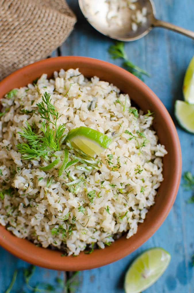 Healthy alternative to chipotle cilantro lime rice that tastes equally good. It is also vegan and gluten free. | watchwhatueat.com