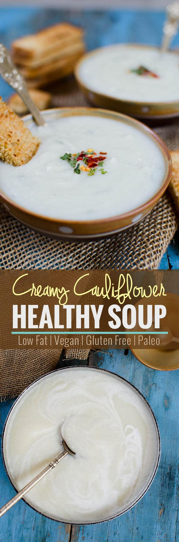 Vegan and gluten free creamy cauliflower soup. Know the secret ingredient that makes it creamy and healthy.   watchwhatueat.com.