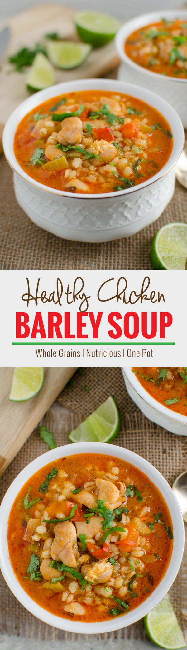 Easy chicken and barley soup recipe -- One pot, healthy, wholesome & nutrient packed soup perfect for lunch or dinner. | watchwhatueat.com