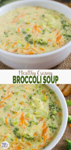 This dairy-free cream of Healthy Broccoli Soup is for guilt-free eating. It is prepared using all healthy and clean ingredients. A bowl of this warm soup is perfect for light lunch or dinner. | #watchwhatueat #healthysoup #broccoli #vegan