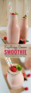 Start your mornings with this vibrant pink healthy raspberry banana smoothie. A vegan, plant based, nutritious smoothie |watchwhatueat.com