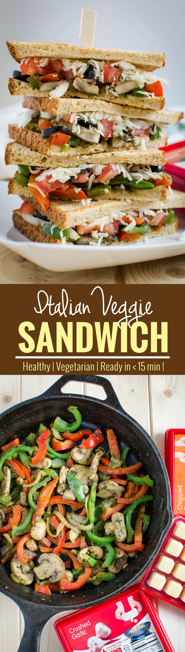 15 min Italian flavored Veggie Sandwich Recipe! An easy, meatless and healthy recipe for breakfast or lunch. Coupon included for frozen herbs. #ad | watchwhatueat.com
