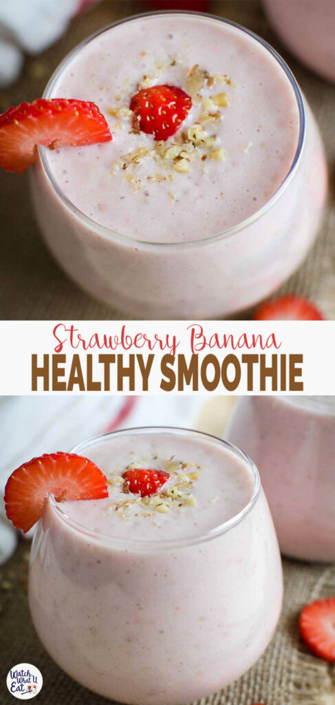Healthy quick and easy strawberry banana smoothie with yogurt -- A tasty, nutritious and simple recipe for morning breakfasts or snacks. | #watchwhatueat #strawberry #smoothie