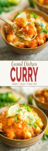 Vegan coconut chickpea curry! A healthy, protein filled curry perfect for meatless lunch or dinner. #chickpea #curry #coconut