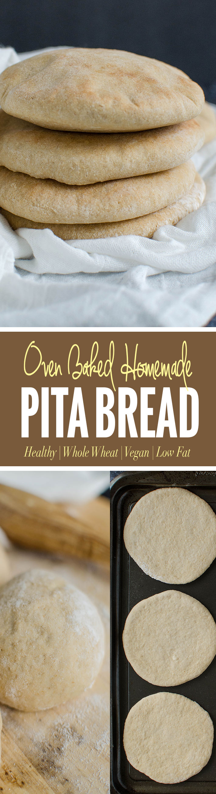 Whole wheat pita bread to pair with homemade hummus, Mediterranean salads etc. You can also make falafel sandwich or turn them into pita chips