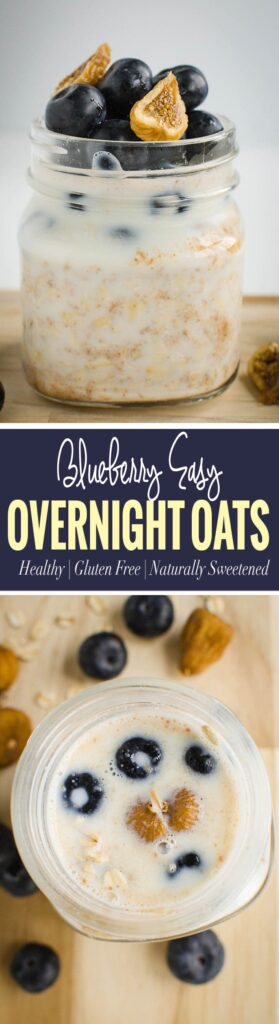 Blueberry almond butter easy overnight oats recipe - Breakfast will be ready even before you wake up | Healthy, vegan, gluten free