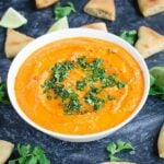 Roasted Red Pepper Hummus Recipe -- You will want to make this again & again. @watchwhatueat