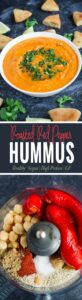 Roasted red pepper hummus - amazingly delicious, creamy and healthy hummus perfect for snacks with pita chips or as a side to any Mediterranean dish. @watchwhatueat