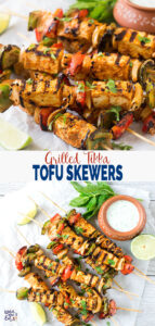 Grilled Tofu Tikka Skewers | Tofu Kebabs - Perfect for party appetizers or making Indian tofu or paneer tikka masala. #watchwhatueat #paneertikka #grilledtofu #tofu