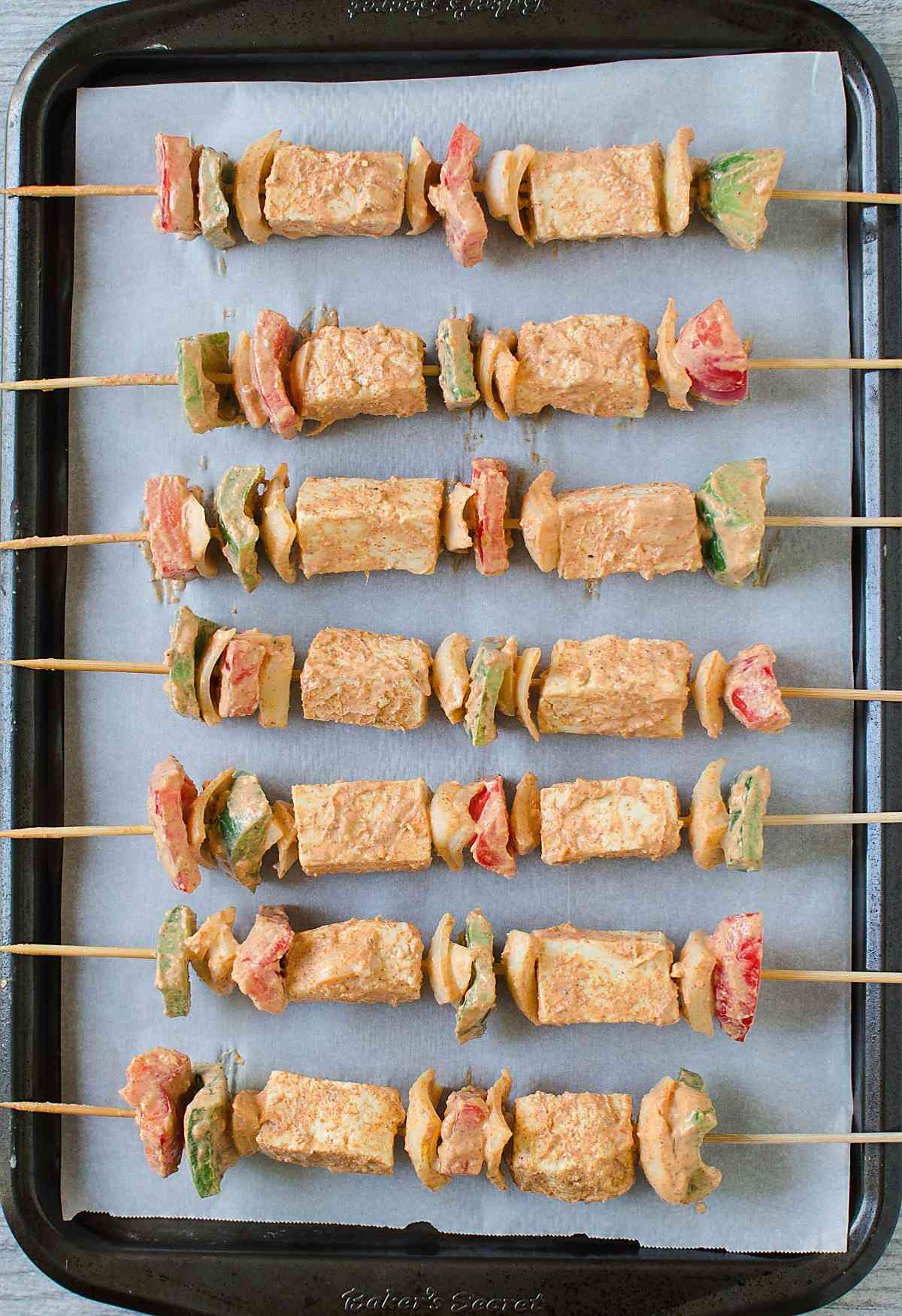 Grilled Tofu Tikka Skewers Recipe | Paneer Tikka