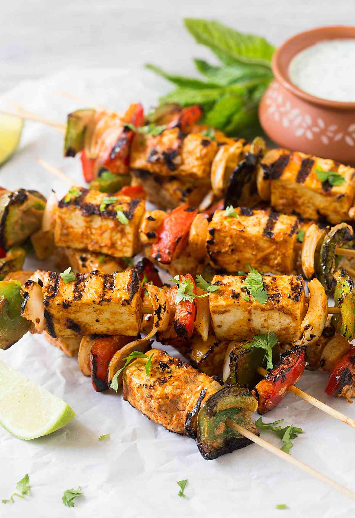 Grilled Tofu Tikka Skewers | Tofu Kebabs - Perfect for party appetizers or making Indian tofu tikka masala.