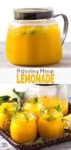 Refreshing Easy Mango Lemonade - prepared using fresh zesty lemon juice, honey, & mango pulp.Healthy, simple & naturally sweetened fresh lemonade recipe to enjoy summer.   #watchwhatueat #mango #lemonade #nonalcoholic #healthy drink